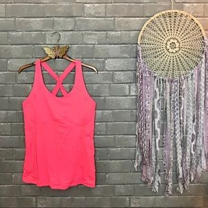 lululemon athletica // neon pink yoga tank top 10